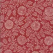 Pondicherry by French General - 5281 - Cluny, Stylised Floral in Cream on Faded Red - 13784 16 - Cotton Fabric